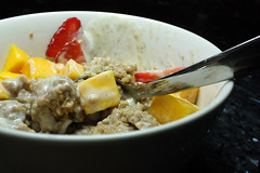 Leftover Steel Cut Oatmeal with Cardamom Yogurt, Mango and Strawberries
