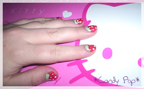Strawberry nail design, nail polishes on fingernails with the fruit nail art