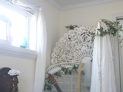 Romance and guitars (christine_el) Tags: light roses white floral garden guitar lace decoration style romantic wicker shabbychic lacefan whitebedroom
