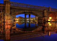 Castlefield at night (Asim237) Tags: uk longexposure bridge england night reflections manchester bluehour castlefield