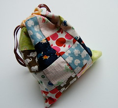 Reversible Patchwork Drawstring Bag (Tiny House) Tags: