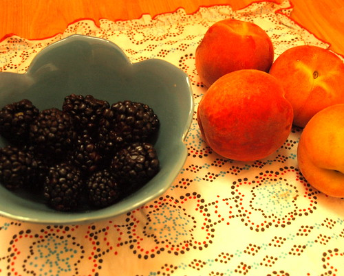 summer blackberries and peaches