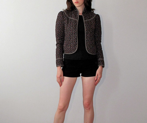 vtg black quilted jacket