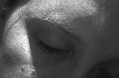 Day 181/365 snooze (Pink Thistle) Tags: blackandwhite selfportrait sleep eyebrow snooze cropped closedeye 365days