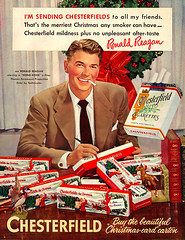 Ronald Reagan sends out smokes (x-ray delta one) Tags: santa christmas xmas illustration vintage magazine ads advertising holidays suburban ad suburbia noel retro smoking nostalgia 1940s 1950s santaclaus americana 1960s atomic populuxe housewife ronaldreagan coldwar yuletide popularscience popularmechanics magazineillustration cigaretteadvertising atomicpower