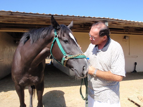 Trainer Barry Abrams with Seanys Story