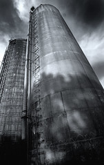 Towers (Cliff Michaels) Tags: sky blackandwhite bw clouds rural d50 nikon tennessee wideangle silo silos 1118mm capturenx