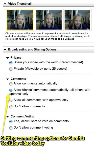 Setting YouTube commenting options