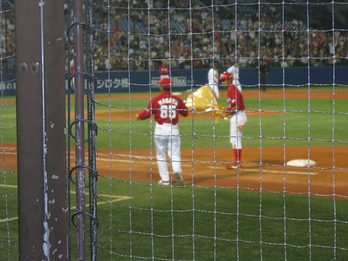 My favorite NPB player, Akihiro Higashide, hit his 1000th hit against the Carp the same night I was there! This is him accepting a bouquet in honor of the achievement.