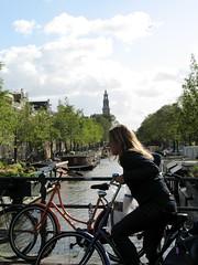 (ash matadeen) Tags: holland netherlands amsterdam bicycle canal cyclist prinsengrachtcanal westerntower fma050909 westerntoren