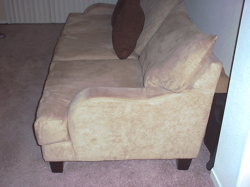Microfiber Suede Couch - LEFT SIDE VIEW