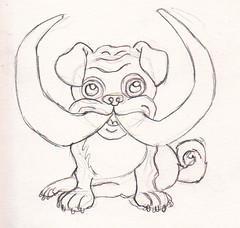 pug with tusks
