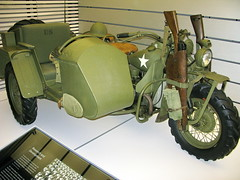 US Army WWII Harley-Davidson Motorcycle with sidecar and rifles - Harley-Davidson Museum (Al_HikesAZ) Tags: vacation art museum wisconsin army military wwii bikes exhibit harley transportation harleydavidson milwaukee ww2 motorcycle 1942 davidson wi hogs choppers menomoneeriver harleydavidsonmotorcycle menomoneevalley alhikesaz
