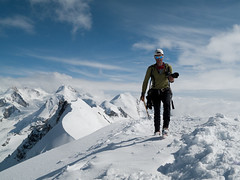 Dan at the top of Breithorn (4165m) - Climbing and mountaneering in Zermatt, Switzerland