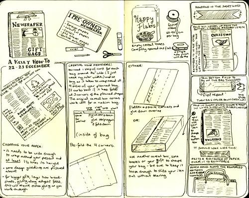 Illustrated Newspaper Gift Bag