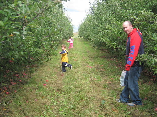 My family enjoying the apple orchard