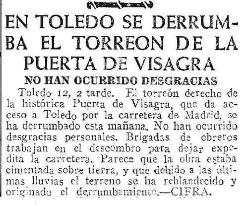 Noticia del derrumbe del torreón de la Puerta de Bisagra el 12 de abril de 1946. Diario ABC