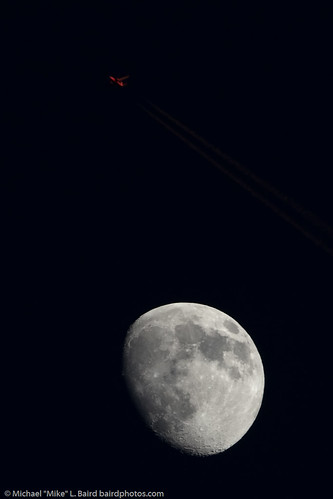 2 of 2 Airplane Flies by the Moon in post-sunset light, taken from Morro Bay, CA