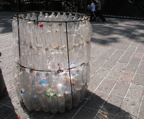 Bin made of plastic bottles in Chapultepec Park, Mexico City