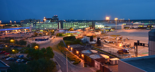Manchester Airport at night from hotel window