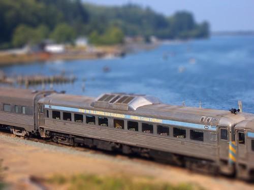 Tiltshift view of railway cars at Wheeler on the Oregon coast