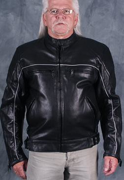 Body Armor reflective leather motorcycle jacket by Dynamicleather-US