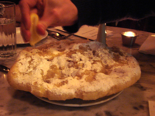 Adding Lemon to Fried Pizza at Motorino