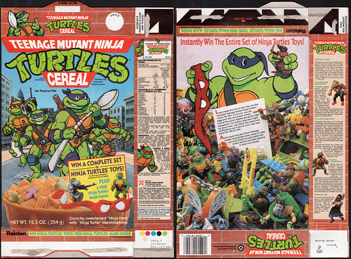 Ralston - Teenage Mutant Ninja Turtles Cereal box - Win Turtle Toys - 1990