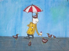 Feed the Birds (Knottwood) Tags: original silly painting funny acrylic bright humourous