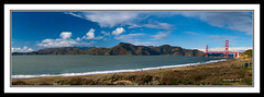 A Beach with a View .....: Panorama (Suvrangshu) Tags: sanfrancisco california travel bridge blue sky pan