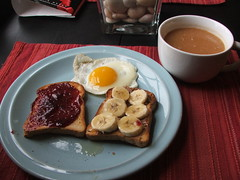 Toast, Egg, & Chai Tea (Mess Maker Baker) Tags: brown up breakfast bread milk rice tea toast side egg almond sunny banana butter raspberry chai preserves slces