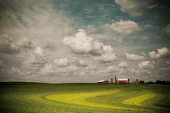 Under the Same Sky (Loren Zemlicka) Tags: summer sky field june wisconsin clouds barn rural landscape photography photo midwest image farm horizon country picture rows land crops agriculture 2009 canonef1740mmf4lusm distant canoneos5d flickrexplore flickrfrontpage lorenzemlicka