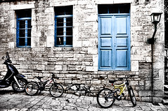 bicycle blues (Faddoush) Tags: windows sea lamp wall nikon village hellas blues bicycles explore greece frontpage hdr halkidiki faddoush