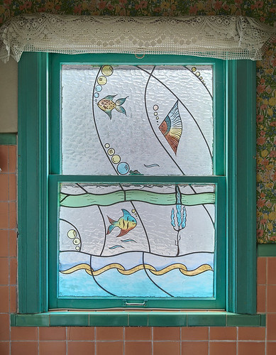 The house where I grew up, in Affton, Missouri, USA - stained glass window in bathroom