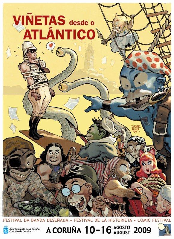 cartel viñetas desde o Atlántico Coruña