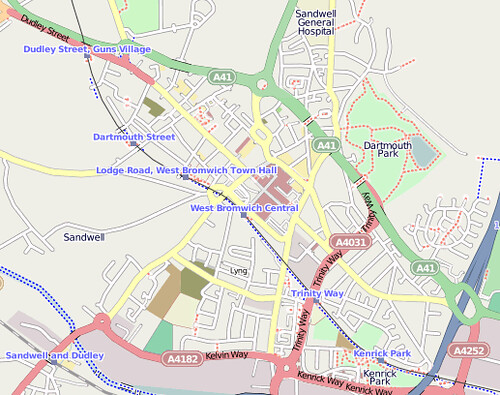 Detail of OSM showing transport access points