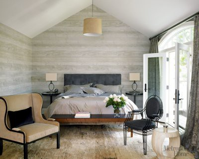 Modern neutral + gray bedroom + faux bois wallpaper, from Met Home