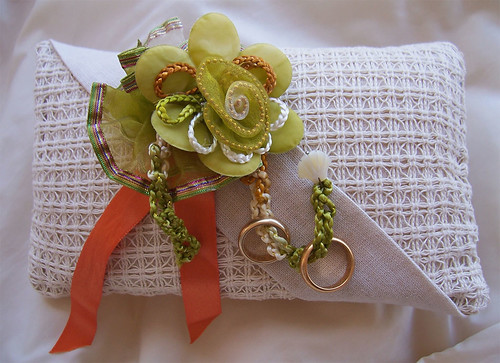 New and original ivory-sand, green flower wedding ring bearer pillow by PassionArte.