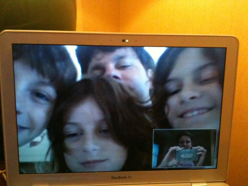 Staying in touch with the family while traveling, via Google video chat