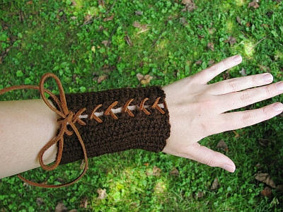 Crocheted Brown Elven Bracers
