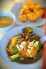 Mushroom Chicken Noodles with Fried Wanton, Eng Loh Coffeeshop, Jalan Gereja (Church Street), Georgetown