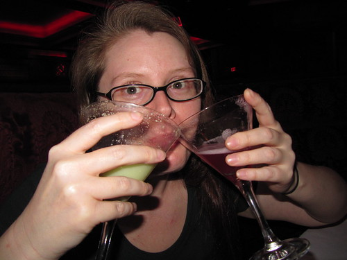 Me double-fisting my two dinner cocktails