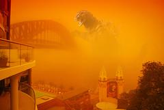Godzilla - Sydney Dust Storm (avlxyz) Tags: funny humor sydney sunny circularquay humour godzilla nsw lunapark gojira sydneyharbourbridge moster sydneynsw sydneyduststorm
