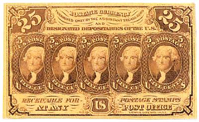 1862 Postal Currency 25 cents