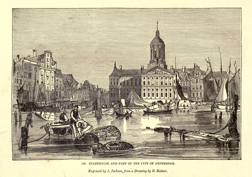 012-Stadhouse y parte de la ciudad de Amsterdam-One hundred and fifty wood cuts, selected from the Penny magazine 1835