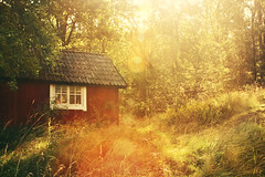 (koinis) Tags: light red summer house forest john lens paint sweden sigma swedish hut flare 24mm blacksmith 18 motljus falu oxelsund rdfrg koinberg koinis