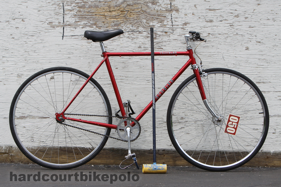 Red Schwinn hardcourt polo bike full