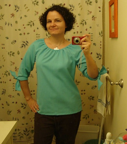 Simplicity 3835, view B with view C's elasticized neckline, ironed.