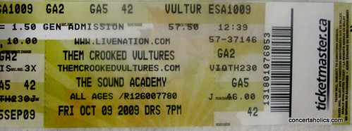 Them Crooked Vultures Concert Ticket