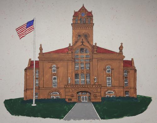 Knox, Indiana BP/ Amoco Zingo Express Gas Station Mural: City Hall Detail